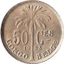 1923 Congo (Belgian) 50 Centimes Coin KM#22