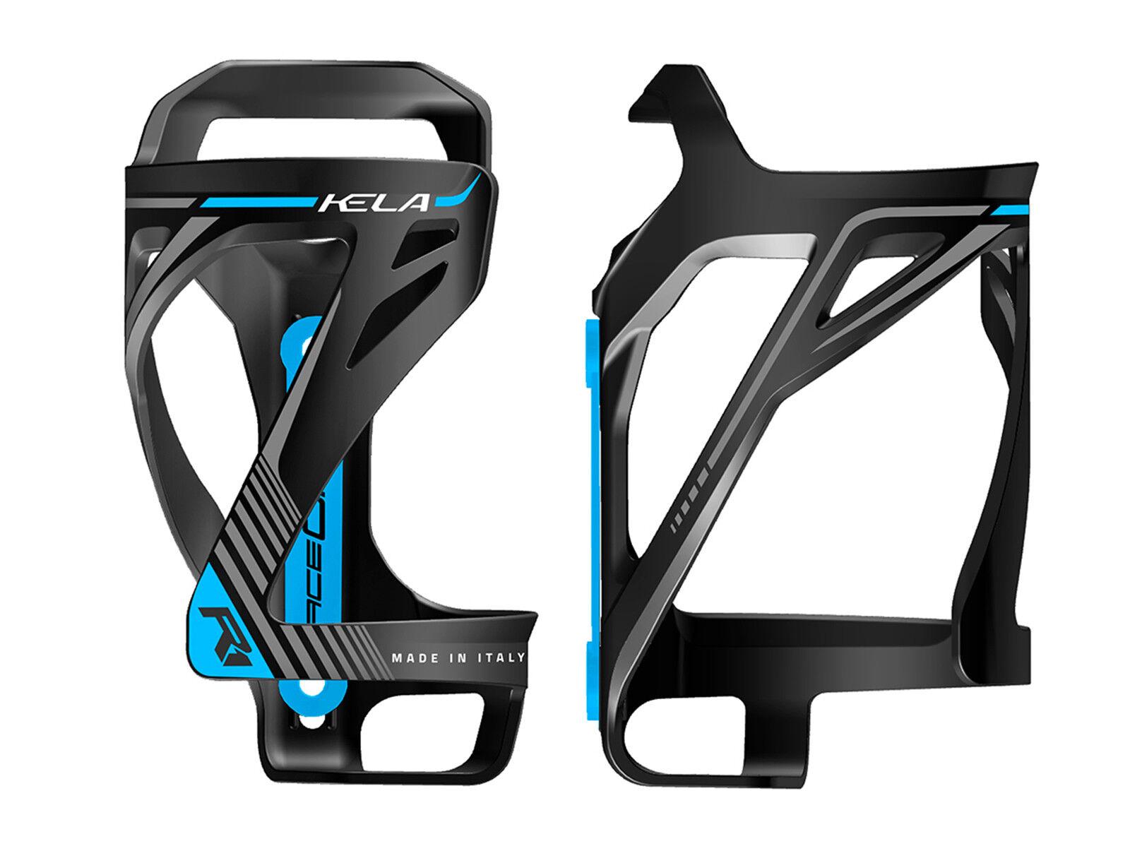 Portabidon Porta Bidon RACEONE KELA Salida Lateral Negro Azul Bicicleta 6331ngaz