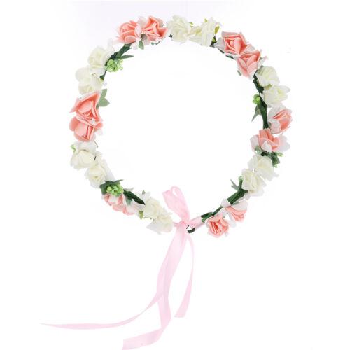 Beauty Rose Flower Crown Headband Wedding Prom Beach Floral Garland Hairband