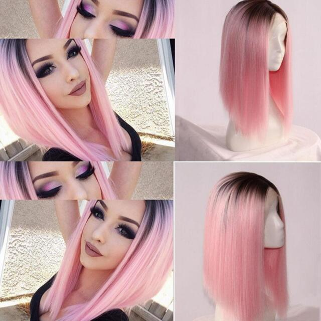 Heat Resistant Synthetic Ombre Wigs Long Straight Bob Black & Pink Wigs Wig