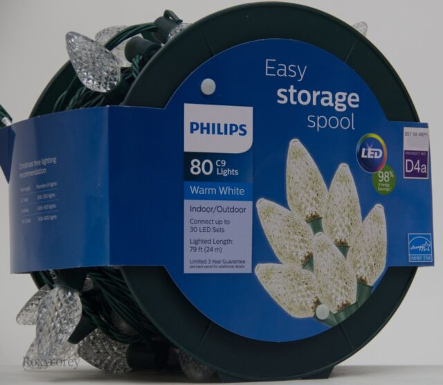 Philips 80ct Warm White Led Faceted C9 String Christmas Lights
