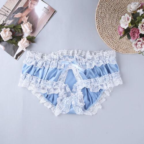 Sissy Men Lace Underwear Soft Satin Ruffled Open Crotch Lingerie Briefs Panties