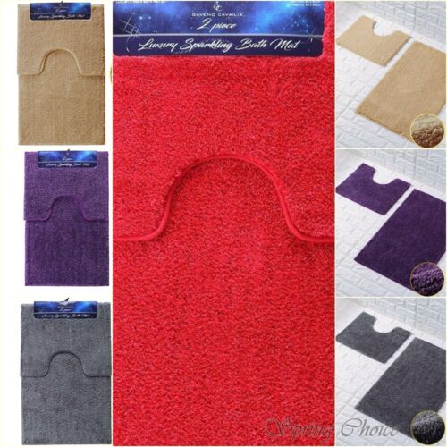 SHINY BATH MAT Glitter Microfiber Water Absorbent Bathroom Rugs Non Slip 2 Pcs
