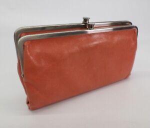 Hobo-International-Leather-Clutch-Lauren-Double-Frame-Handbag-Wallet-Salmon