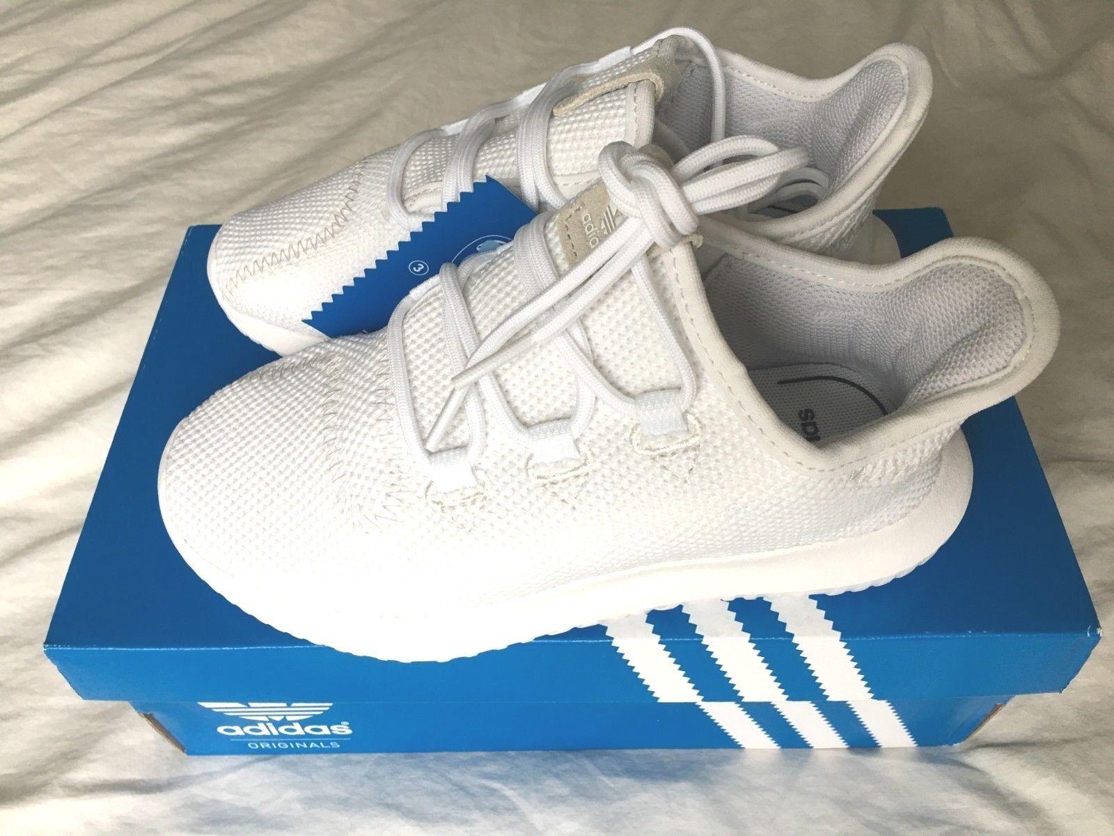 NIB Adidas Unisexe Tubular Shadow C Chaussures Enfants Blanc / Noir / Blanc 13K