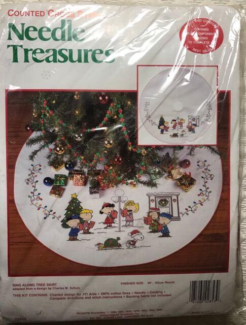 Needle Treasures Christmas Counted Cross Tree Skirt Kit Sing Along Peanuts  02853 | eBay - Needle Treasures Christmas Counted Cross Tree Skirt Kit Sing Along