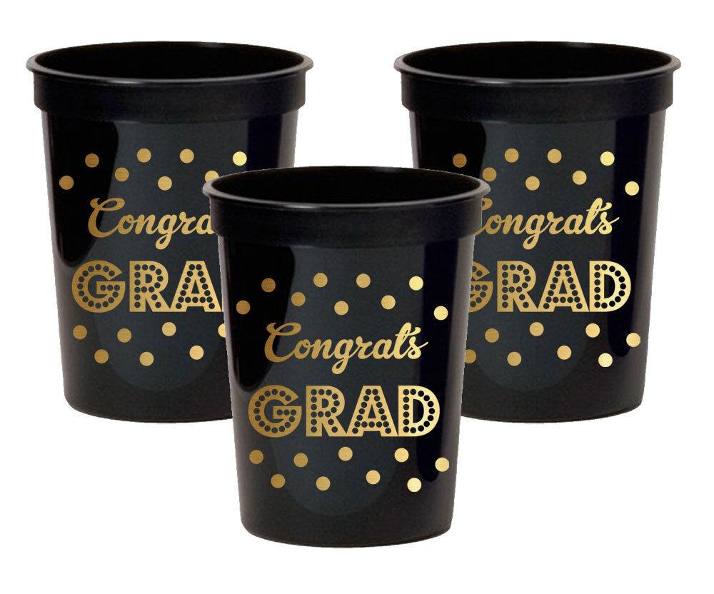 100pk oro Metálico  Felicitaciones Grad Fiesta Tazas Decoraciones de fiesta de graduación