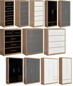 Details about Seville Black/Grey/White High Gloss Bedroom Furniture -  Wardrobes, Chest Drawers