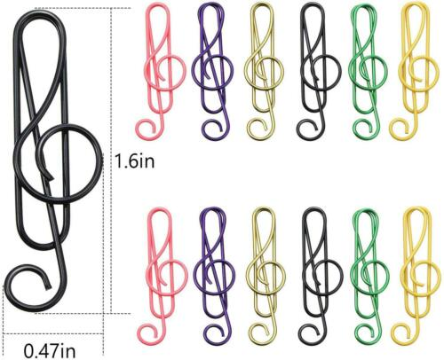 100 Pieces Music Paper Clips 6 Colors Metal Paper Clips Musical Notes Clips Mus