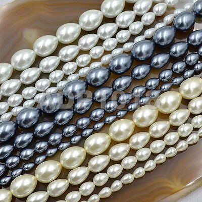 Top Quality Czech Glass Pearl Pear Teardrop Loose Beads 15.5/'/' White Cream Black