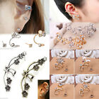 Women Lady Elegant Crystal Pearl Rhinestone Ear Clip Ear Stud Earrings Jewelry