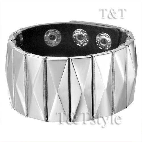 TTstyle Punk Black Leather Bracelet Wristband Ajustable