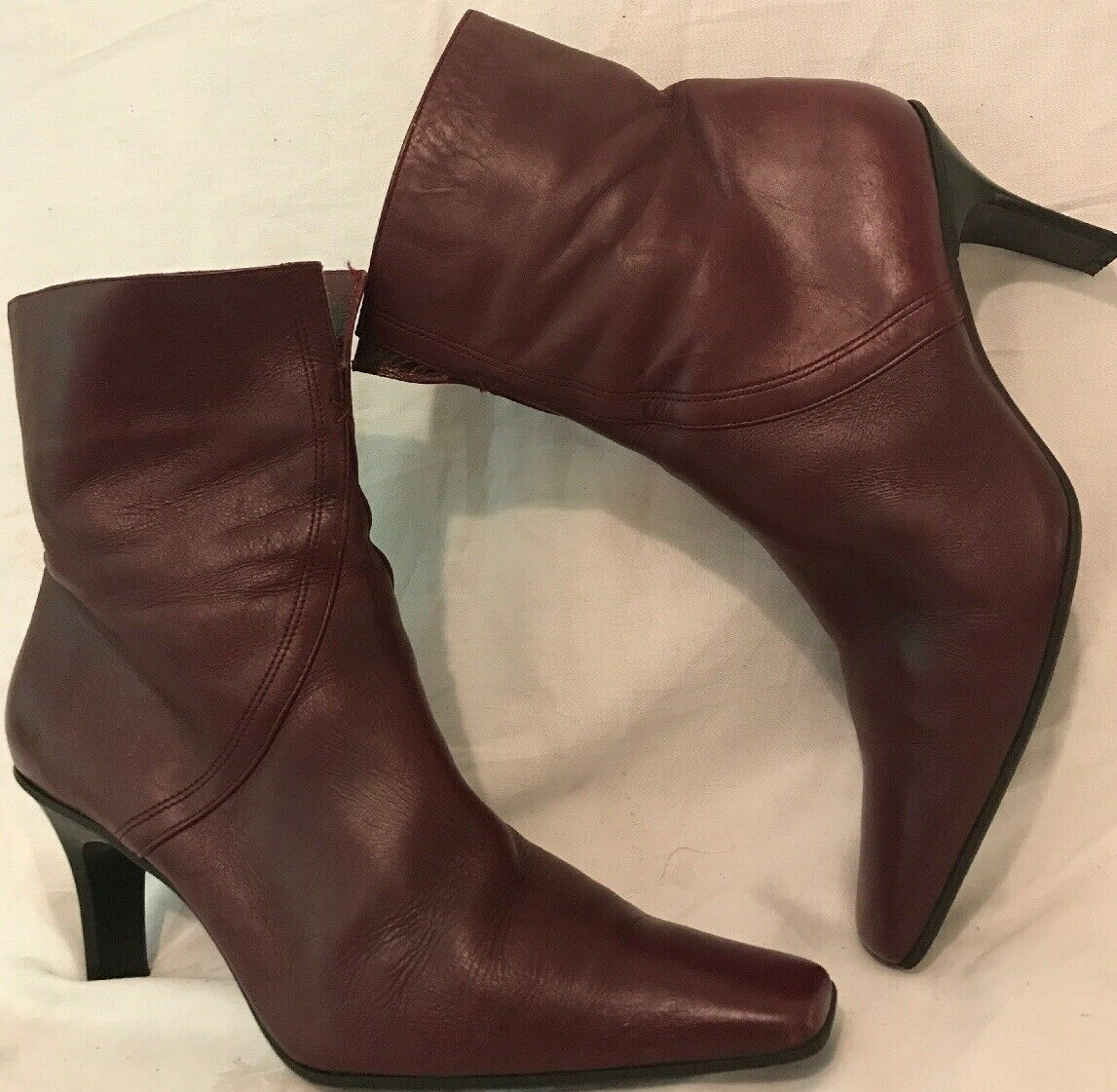 Next Maroon Ankle Leather Lovely Boots Size 6 (715ww)