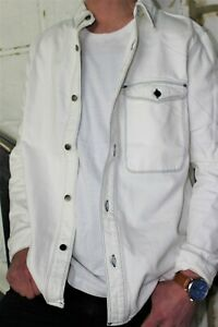Mens-white-Denim-Shirt-TOPMAN-Mens-Casual-Shirt-Jacket-White-denim