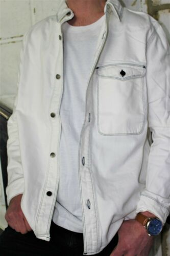 Mens white Denim Shirt TOPMAN Mens Casual Shirt Jacket White denim