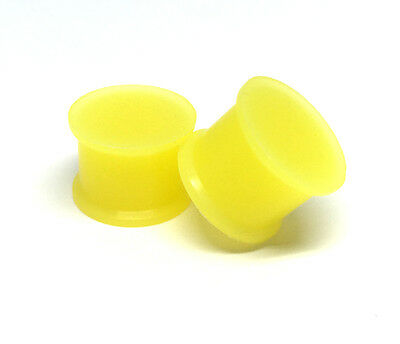 Pair of Yellow Glow in the Dark Silicone Plugs set gauges PICK SIZE flexible