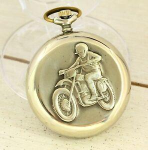 1970's RARE original Molnija motorcyclist quartz USSR open face pocket watch