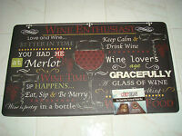 Chef Anti Fatigue Kitchen Floor Mat Rug Black 18x30 Wine Enthusiast Eat Sip Fun