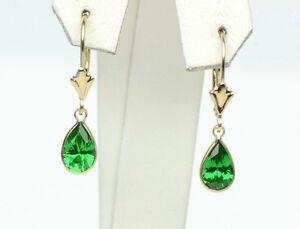 14KYellow-Gold-Leverback-Birthstone-Tear-Drop-shape-Dangle-Earrings-High-Quality