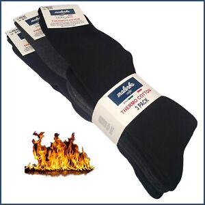 3 paia calze TERMICHE da Uomo Donna lunghe calde calzini caldo cotone invernali