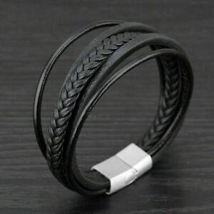 Herren-Leder-Armband-mit-Magnet-Verschluss-Geflochten-Schwarz-Wickel-Armreif
