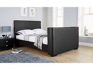 Luxe Lit Tv En Noir Ou Blanc En Cuir Synthetique Avec Construit En Electrique Tv Stand Ebay