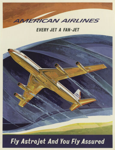 Vintage Travel//Promotional Poster A2A3A4Sizes AMERICAN AIRLINES...ASTRO JETS .