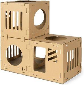 Navaris Modular Cardboard Cat House - DIY Corrugated Cardboard Configurable for