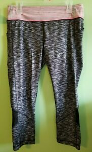 Lululemon Pace Rival Crop Dramatic Static Black White Pink