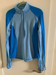 Lululemon Women Fast As Light 1/2 Zip Up Athletic Jacket, Blue Polar Cream, Sz 8