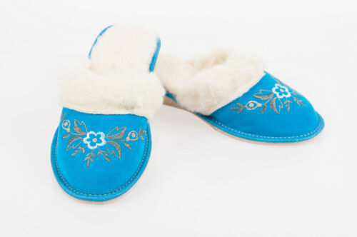Women`s/Ladies Suede Leather Slippers with Natural Sheep Wool All sizes