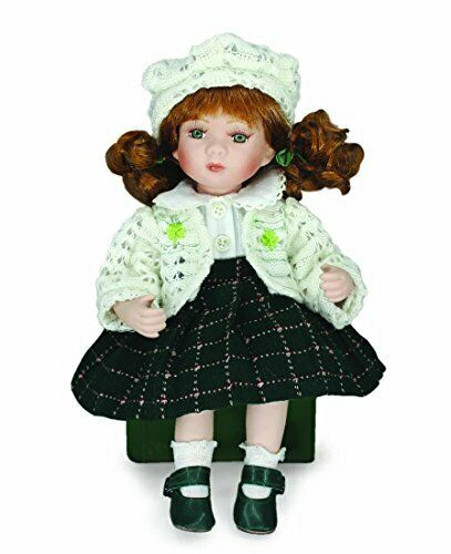 """""""Ciara"""" 8"""" Irish Porcelain Doll With White Dress And Green Knitted Skirt"""