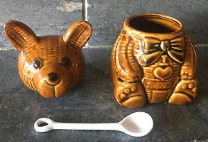 VTG-Ceramic-Honey-Bear-Jar-I-LOVE-HONEY-Brown-Majolica-Spoon-EXCELLENT-KITSCH