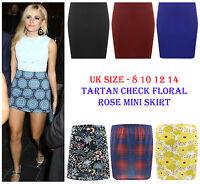New Ladies Bodycon Stretch Flower Micro Mini Skirt Womens Elasticated Short 8-14