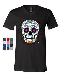 Floral-Sugar-Skull-Day-of-the-Dead-V-Neck-T-Shirt-Dia-de-los-Muertos