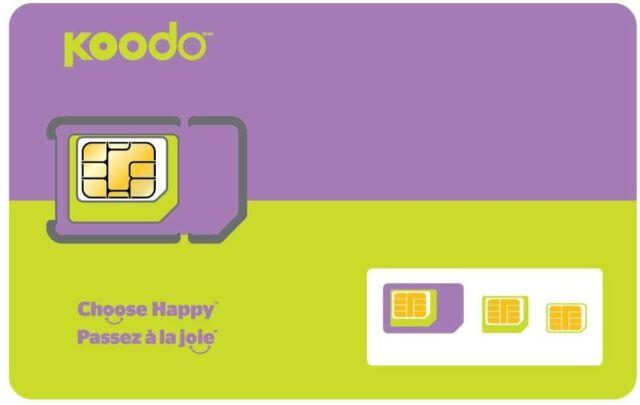 Koodo Prepaid Sim Card (Standard Micro Nano) 4G LTE Canada