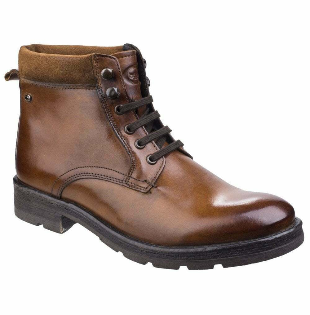 Base London Mens Panzer Washed Tan Leather Work Stiefel