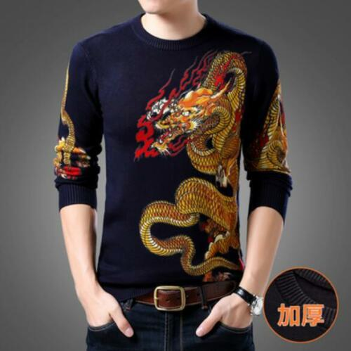 Mens Cashmere Blend Chinese Style Thick Warm Winter Sweater Dragon Pattern Ths01