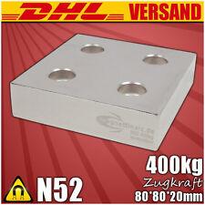 Sehr starker Neodym Magnet Quader 80x80x20mm N52 mit 4 Bohrungen vernickelt