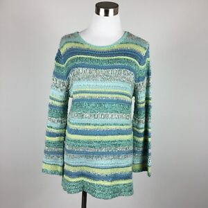 Coldwater-Creek-womens-sweater-sz-S-loose-knit-striped-greens-blues-scoop-neck