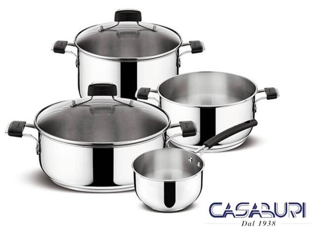 Lagostina Batteria di Pentole Tempra 6 Pz in Acciaio Inox - Cookware Set Italy