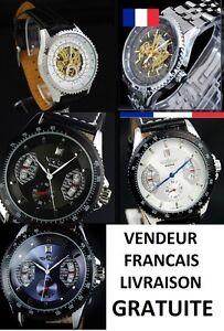 Montres-Homme-Automatique-Mecanique-Cuir-ou-Acier-inoxydable-Blanche-noir-bleu