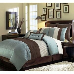 8pc Pintuck Pleated Stripe Off White Blue And Brown Comforter Set