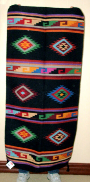 "Hand Woven Wool Throw Rug Southwestern Western 32""x 64"" Tapestry #414"
