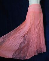 J Gee Peach Pink Rayon Blend Lace Panel Boho Girly Formal Long Swing Skirt