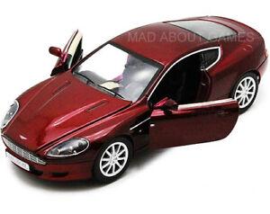 Aston-MARTIN-DB9-COUPE-1-24-scala-in-Metallo-Diecast-Modello-Auto-Giocattolo-Rosso-in-miniatura