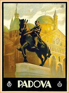 Padua Padova Italy Vintage Italian Travel Advertisement Art Poster Print