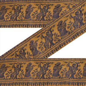 Antiques Vintage Sari Border Antique Embroidered Woven Trim Sewing Saffron Lace