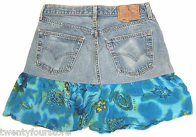 NEW Urban Renewal x Levis from Urban Outfitters Denim Blossom Skirt BLUE M