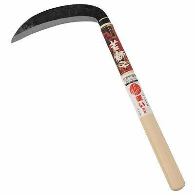 Japanese Densyo Steel Grass Sickle w// Wooden Handle KAMA 180mm from JAPAN
